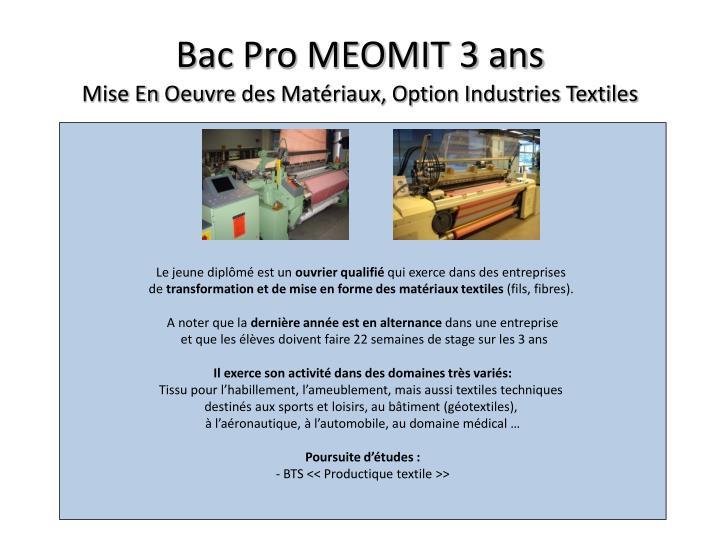 Bac Pro MEOMIT 3 ans