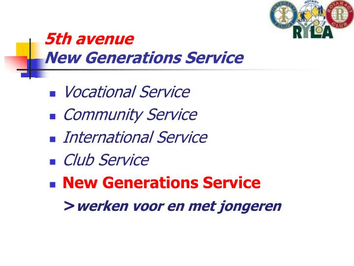 5th avenue new generations service