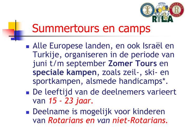 Summertours en camps