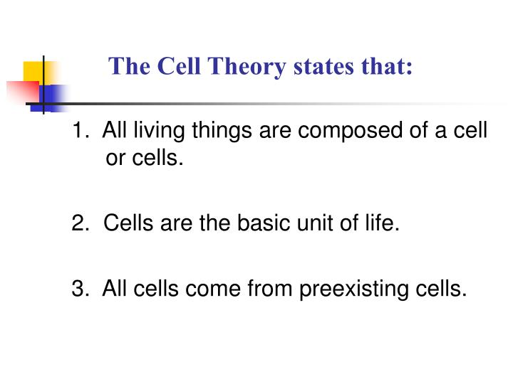 The Cell Theory states that: