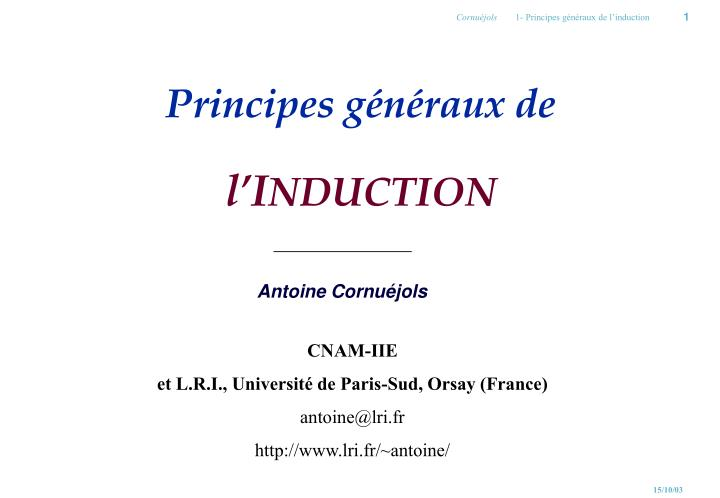 principes g n raux de l i nduction
