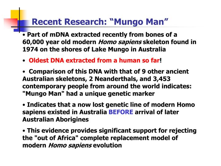"Recent Research: ""Mungo Man"""