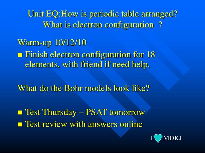 Unit eq how is periodic table arranged what is electron configuration