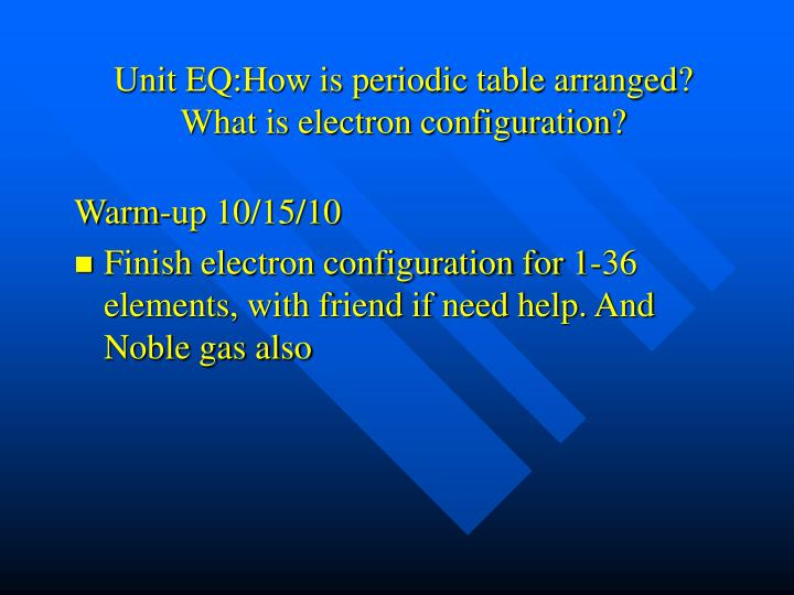 Unit eq how is periodic table arranged what is electron configuration1