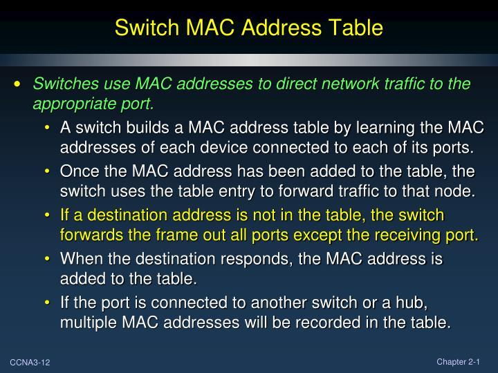 Switch MAC Address Table