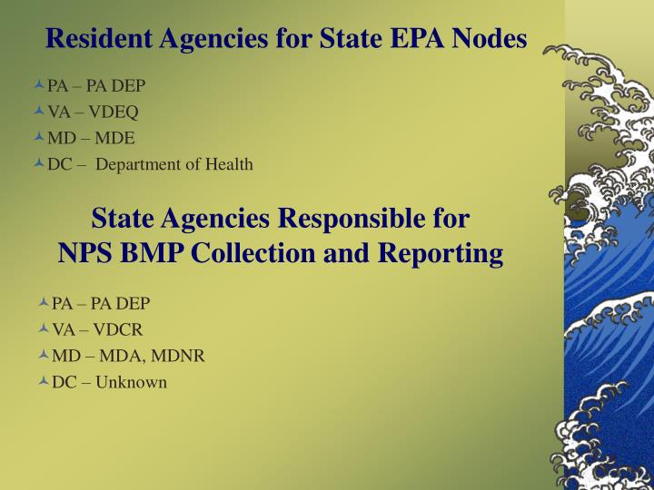 Resident Agencies for State EPA Nodes