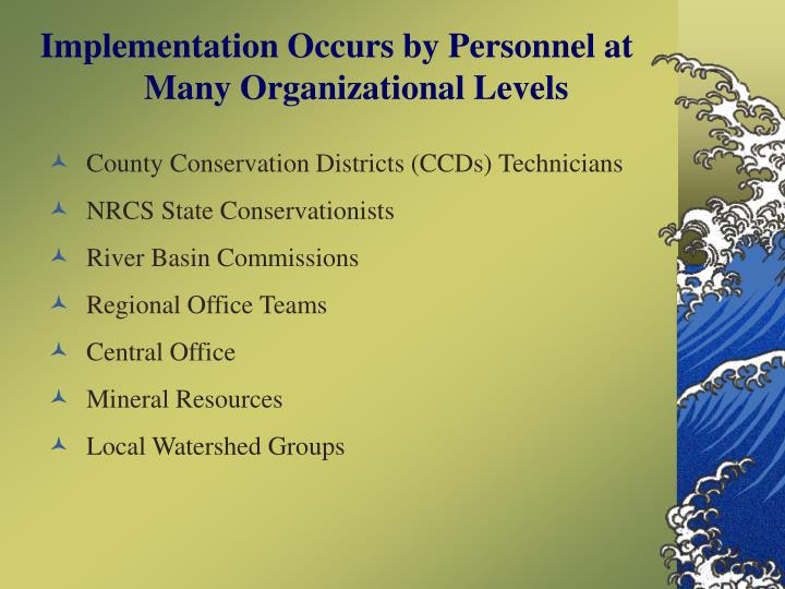 Implementation Occurs by Personnel at Many Organizational Levels