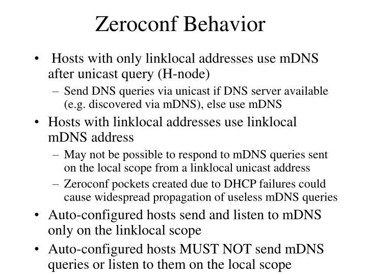 Zeroconf Behavior