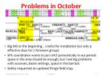 problems in october