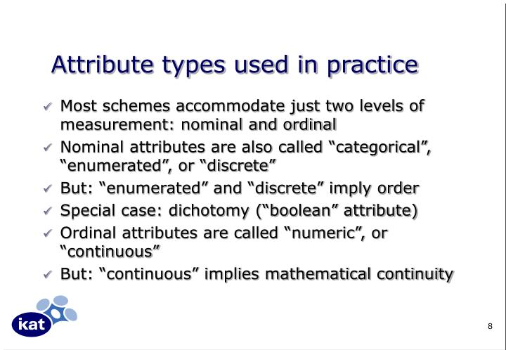 Attribute types used in practice