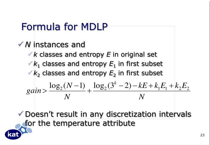 Formula for MDLP