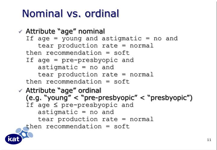 Nominal vs. ordinal