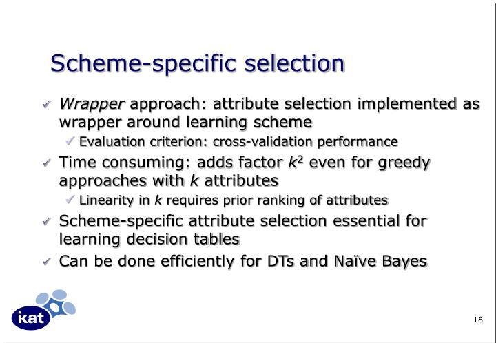 Scheme-specific selection