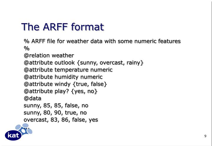 The ARFF format