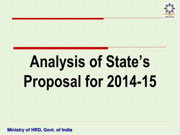 Analysis of State's Proposal for 2014-15