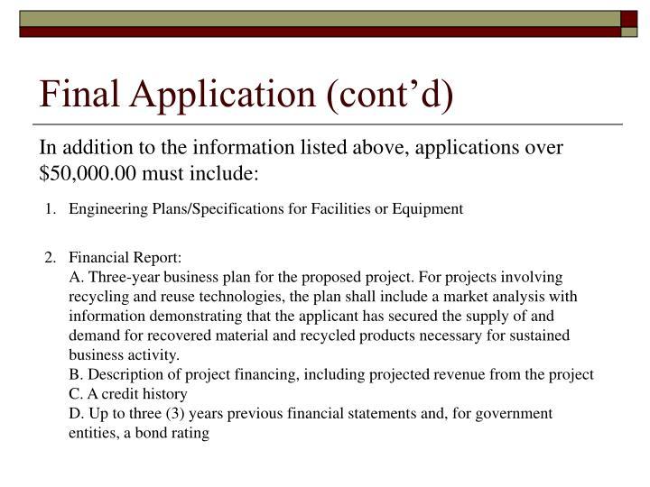 Final Application (cont'd)