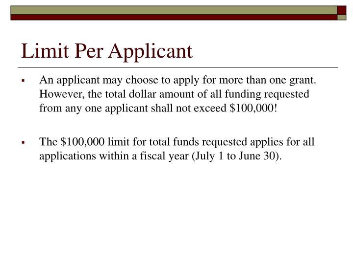 Limit Per Applicant