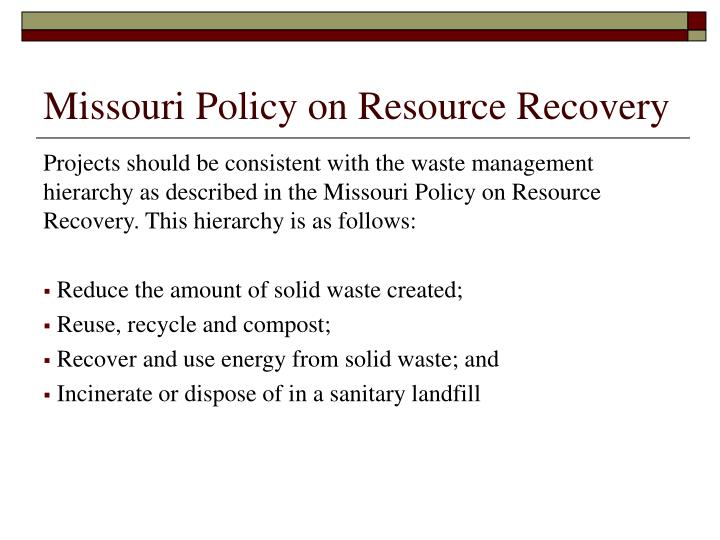 Missouri Policy on Resource Recovery