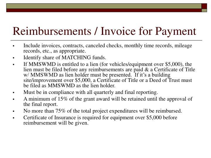 Reimbursements / Invoice for Payment