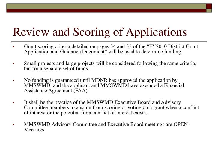 Review and Scoring of Applications