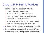 ongoing ms4 permit activities