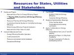 resources for states utilities and stakeholders