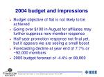 2004 budget and impressions