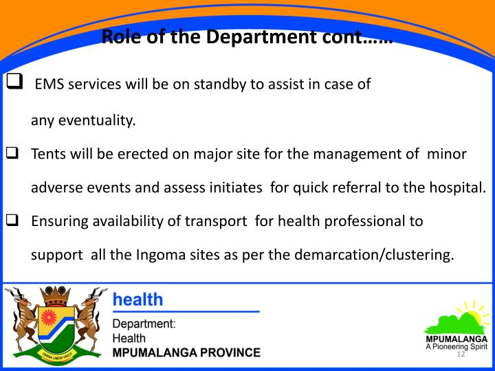 Role of the Department cont……