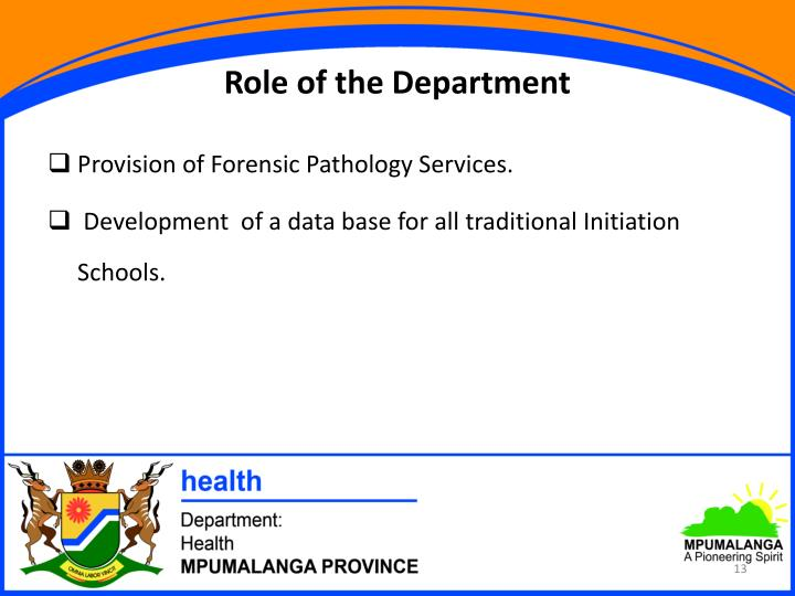 Role of the Department