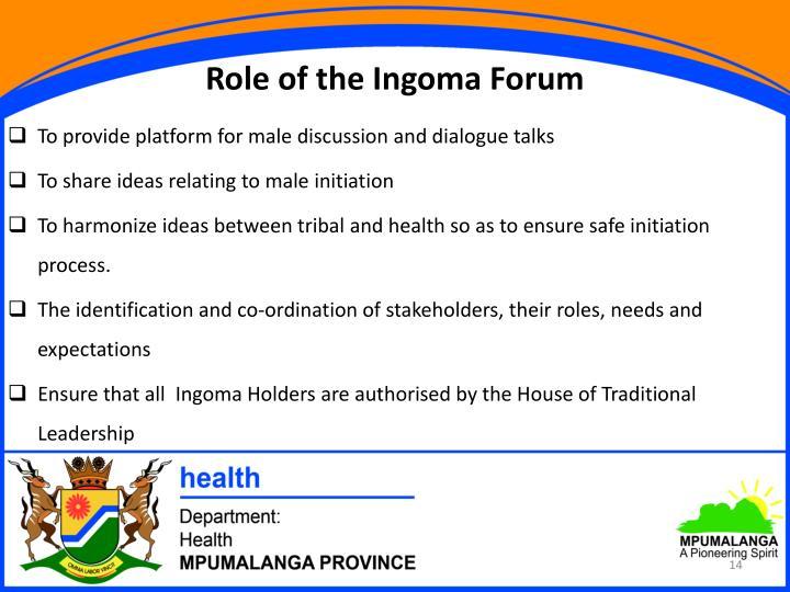 Role of the Ingoma Forum