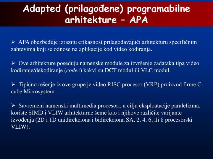 Adapted (prilagođene) programabilne arhitekture – APA