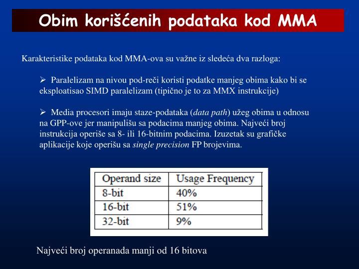 Obim korišćenih podataka kod MMA
