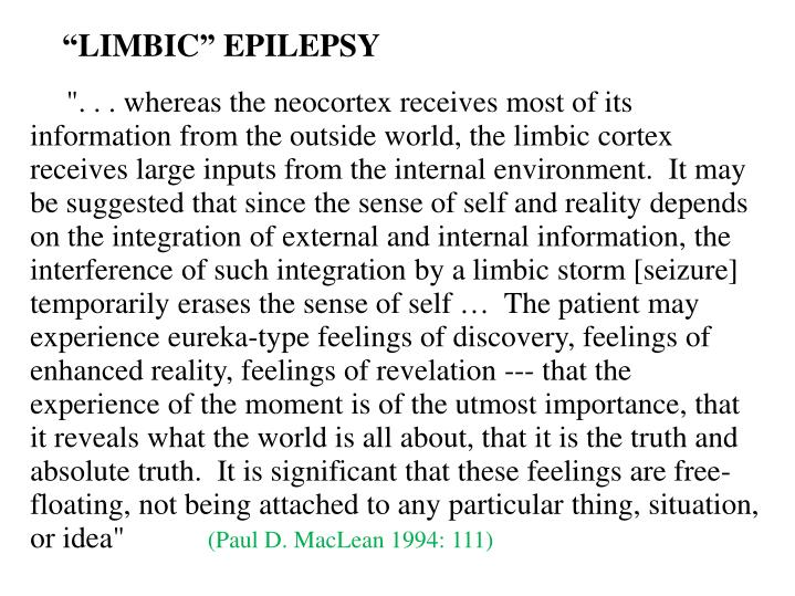 """""""LIMBIC"""" EPILEPSY"""