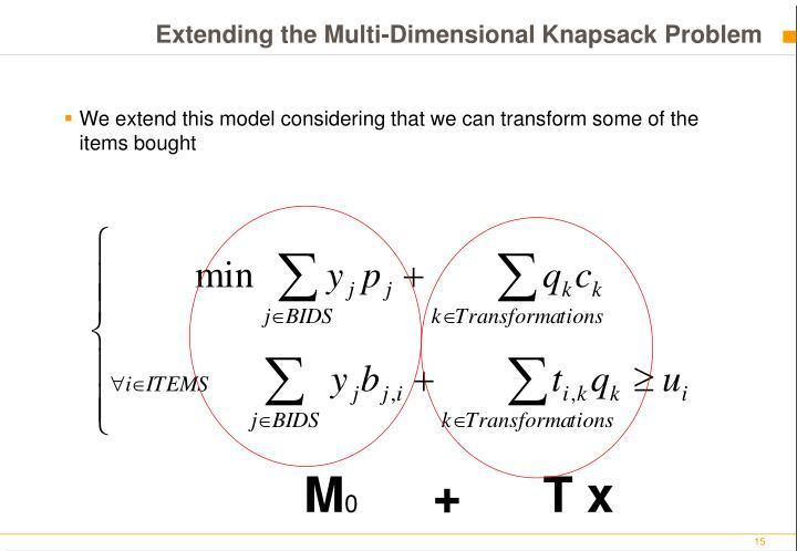 Extending the Multi-Dimensional Knapsack Problem