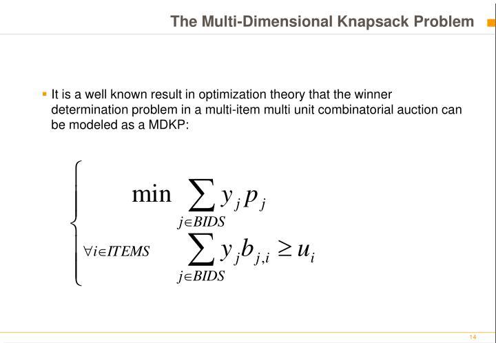 The Multi-Dimensional Knapsack Problem