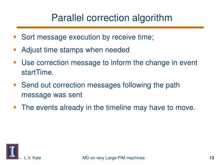 Parallel correction algorithm