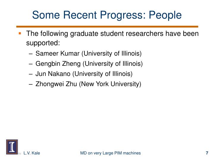 Some Recent Progress: People