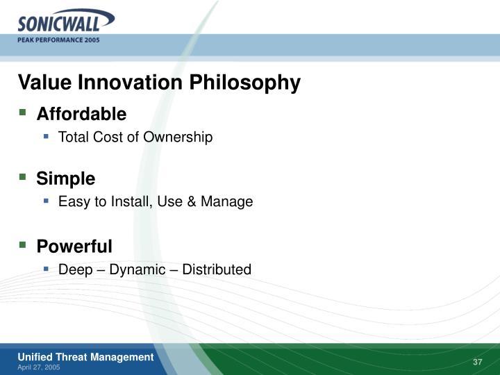 Value Innovation Philosophy