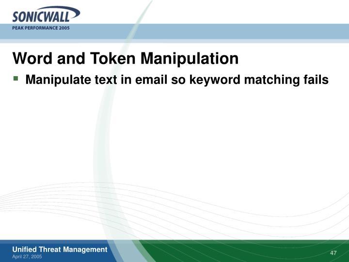 Word and Token Manipulation