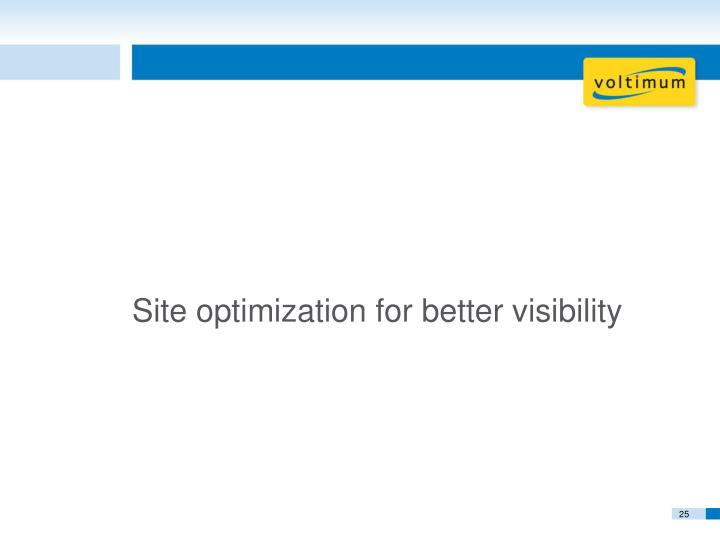 Site optimization for better visibility