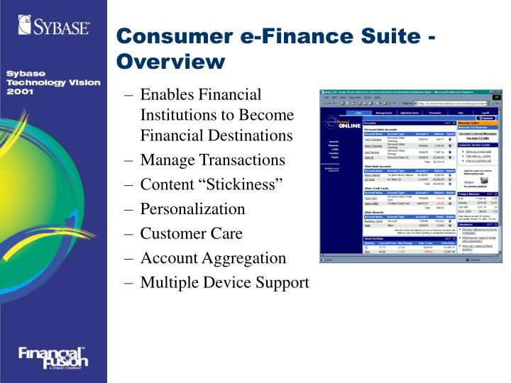 Consumer e-Finance Suite - Overview