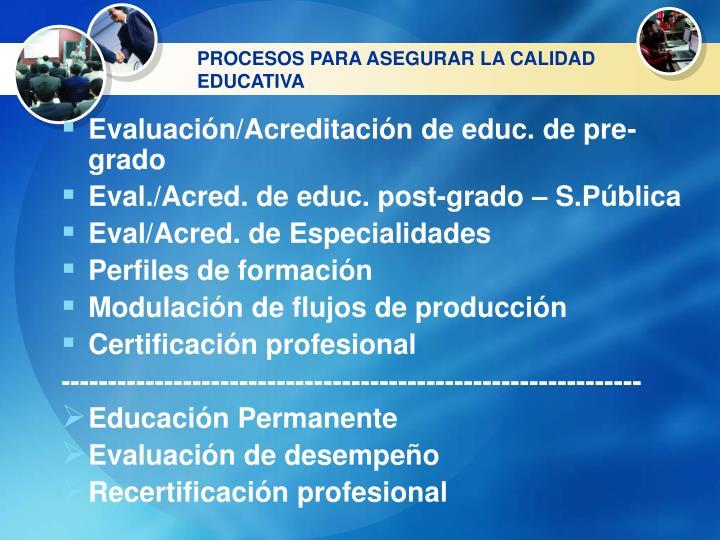 PROCESOS PARA ASEGURAR LA CALIDAD EDUCATIVA