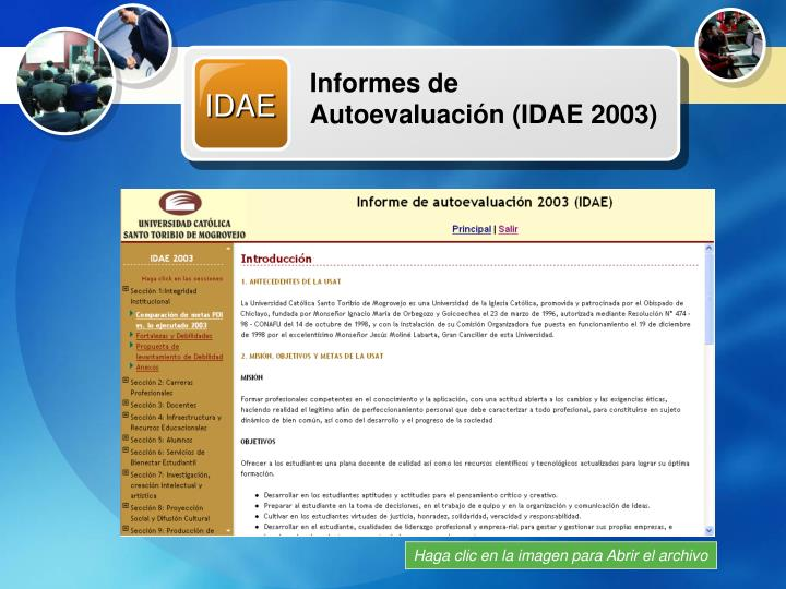 Informes de Autoevaluación (IDAE 2003)