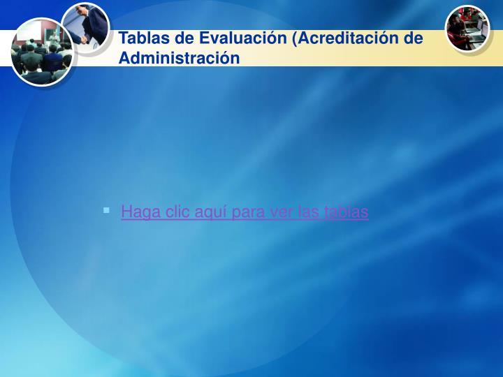 Tablas de Evaluación (Acreditación de Administración