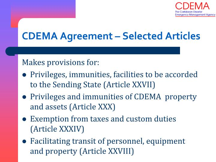 CDEMA Agreement – Selected Articles