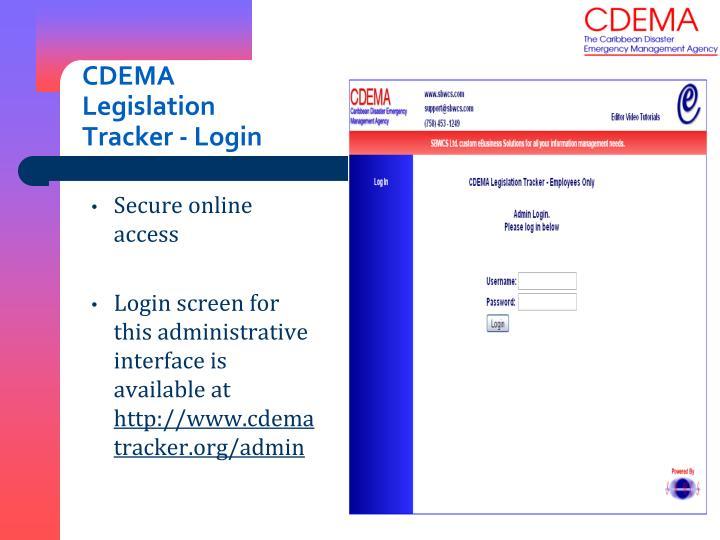 CDEMA Legislation Tracker - Login