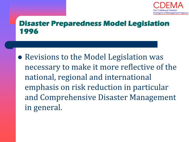 Disaster Preparedness Model Legislation 1996