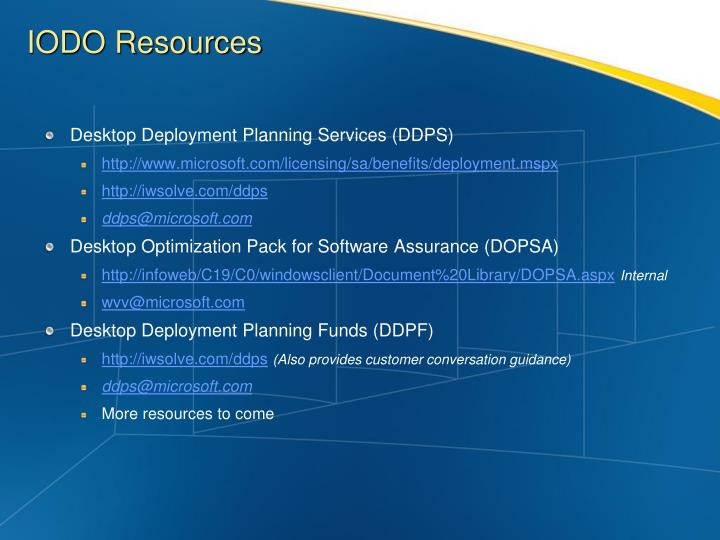 Desktop Deployment Planning Services (DDPS)