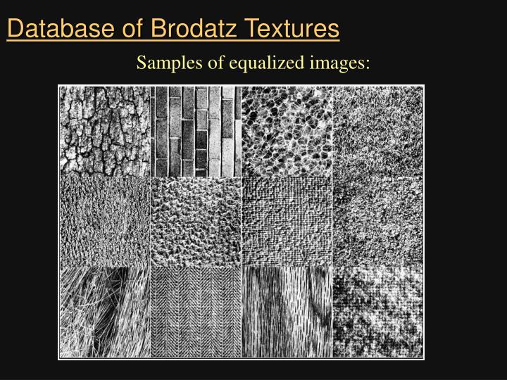 Database of Brodatz Textures