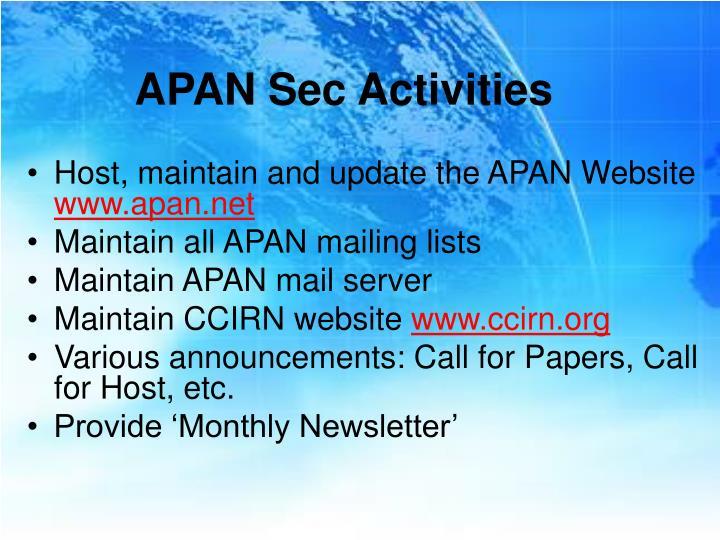 Apan sec activities